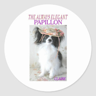 THE ALWAYS ELEGANT PAPILLON CLASSIC ROUND STICKER