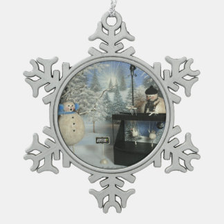 The Amazing Puppeteer Snowflake Pewter Christmas Ornament