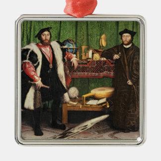 The Ambassadors, 1533 Silver-Colored Square Decoration