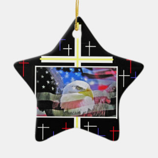The American Bald Eagle, The Flag and The Cross. Christmas Ornament