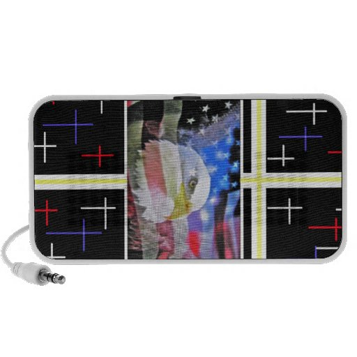 The American Bald Eagle, The Flag and The Cross. Laptop Speaker