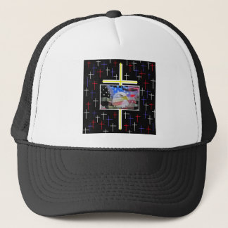 The American Bald Eagle, The Flag and The Cross. Trucker Hat