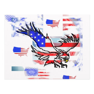 The American bald Eagle, the Flag and the Map. Postcard