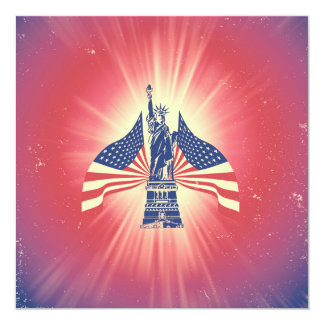 The American flag and statue of liberty Card