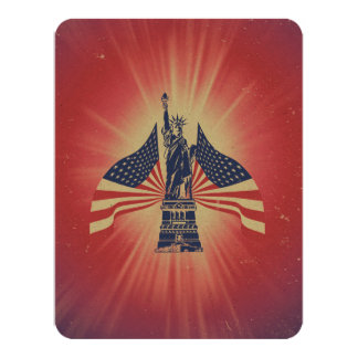 The American flag and statue of liberty 4.25x5.5 Paper Invitation Card