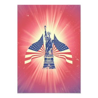 The American flag and statue of liberty 5x7 Paper Invitation Card