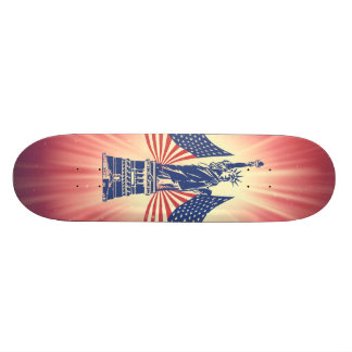 The American flag and statue of liberty Skate Decks