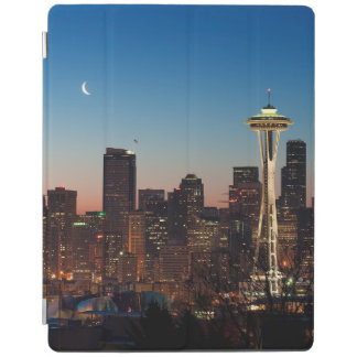 The American flag flies between the rising moon iPad Cover