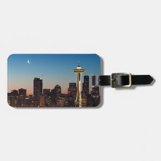 The American flag flies between the rising moon Luggage Tag