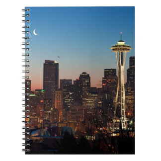 The American flag flies between the rising moon Notebooks