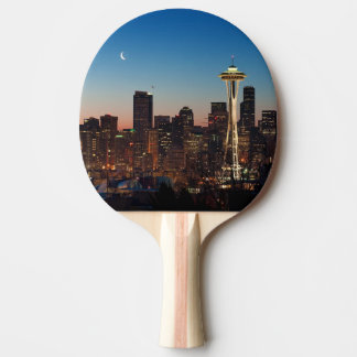 The American flag flies between the rising moon Ping Pong Paddle