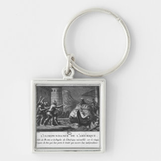 The American Independence Silver-Colored Square Key Ring