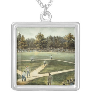 The American National Game of Baseball Silver Plated Necklace
