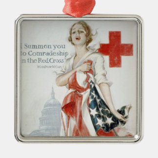 The American red cruciform poster of primary world Silver-Colored Square Decoration