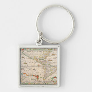 The Americas 2 Silver-Colored Square Key Ring