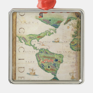 The Americas, detail from world atlas, 1565 Christmas Ornament
