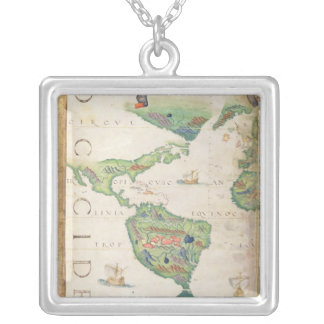 The Americas, detail from world atlas, 1565 Silver Plated Necklace