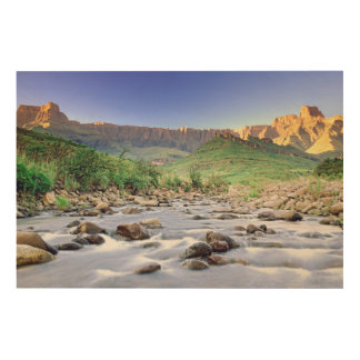The Amphitheatre And Tugela River In Drakensberg Wood Print