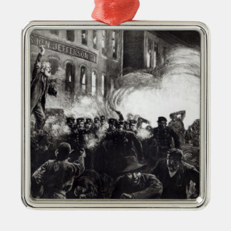 The Anarchist Riot in Chicago Silver-Colored Square Decoration
