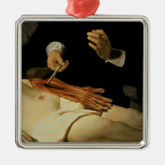 The Anatomy Lesson of Dr. Nicolaes Tulp, 1632 Silver-Colored Square Decoration