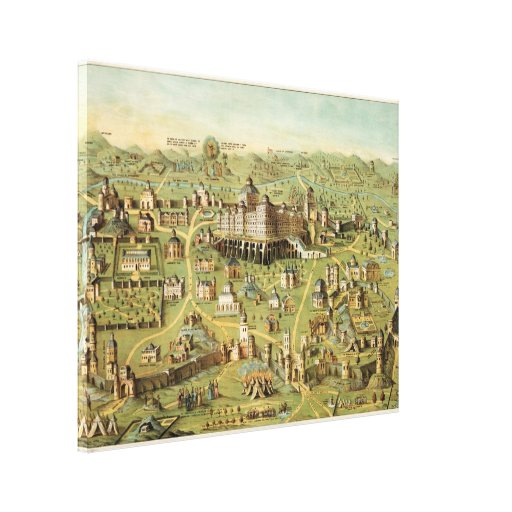 The ancient city Jerusalem with Solomon's Temple Stretched Canvas Print