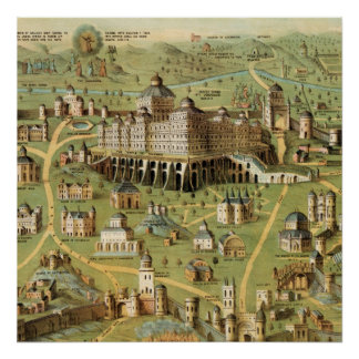 The ancient city Jerusalem with Solomon's Temple Poster