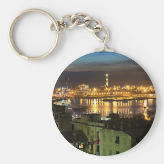 The ancient port in Genova, Italy Key Ring