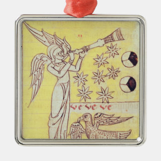 The Angel Blowing the Trumpet Silver-Colored Square Decoration