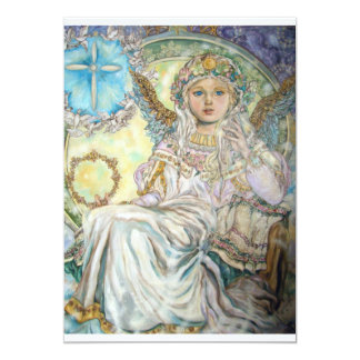 The angel of the Christmas rose. 13 Cm X 18 Cm Invitation Card