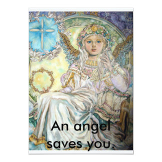 The angel of the Christmas rose., An angel save... 13 Cm X 18 Cm Invitation Card