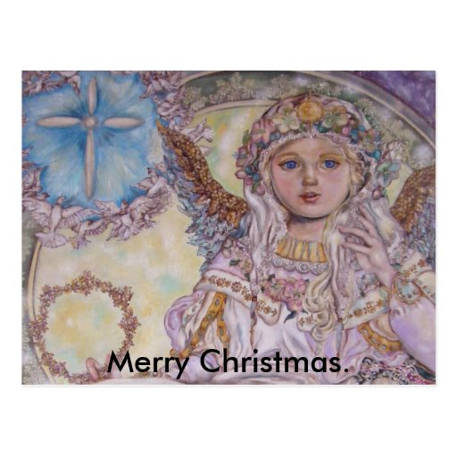 The angel of the Christmas rose., Merry Christmas. Post Cards