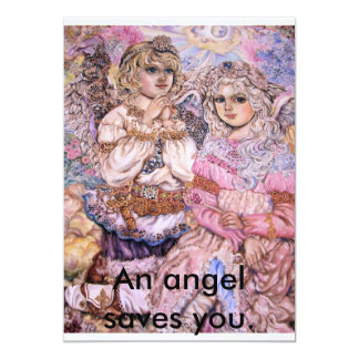 The angel of the flash of light., An angel save... 13 Cm X 18 Cm Invitation Card