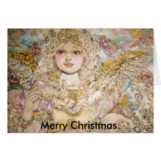 The angel of the Golden pearl., Merry Christmas. Card