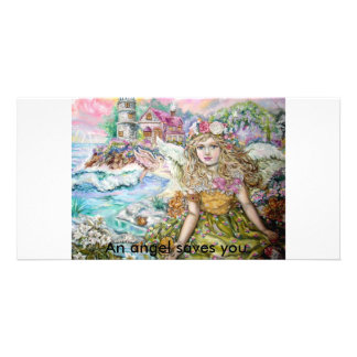 The angel of the pearl shellfish., An angel sav... Photo Card
