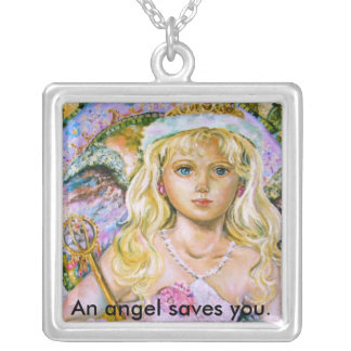 The angel of the pink sapphire., An angel saves... Silver Plated Necklace