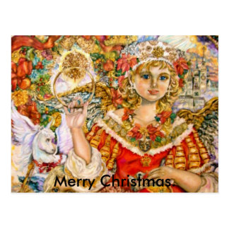 The angel of the poinsettia., Merry Christmas. Post Cards