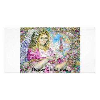The angel of the rose quartz clock., Happy Chri... Personalised Photo Card