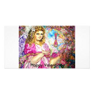 The angel of the sirloin quartz clock., Happy V... Custom Photo Card