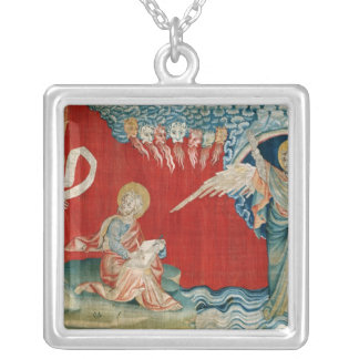 The Angel with an Open Book Silver Plated Necklace