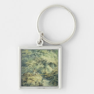 The Angler, 1794 (w/c over graphite on paper) Silver-Colored Square Key Ring