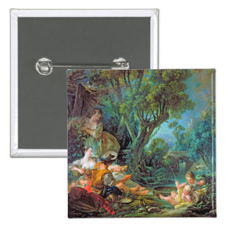 The Angler  Boucher Francois rococo scene painting Buttons