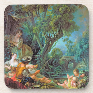 The Angler Boucher Francois rococo scene painting Drink Coaster