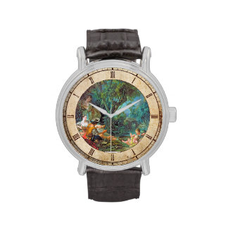 The Angler  Boucher Francois rococo scene painting Wristwatch