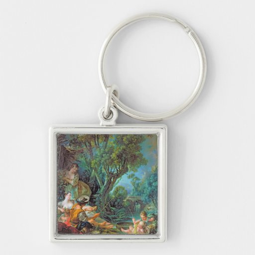 The Angler  Boucher Francois rococo scene painting Key Chains