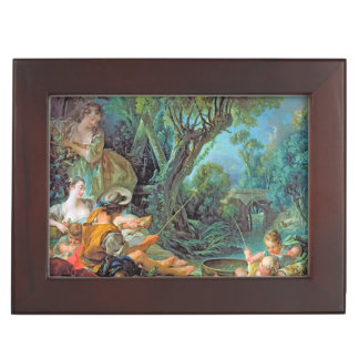 The Angler Boucher Francois rococo scene painting Keepsake Boxes