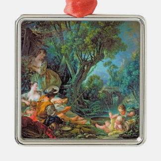 The Angler  Boucher Francois rococo scene painting Silver-Colored Square Decoration