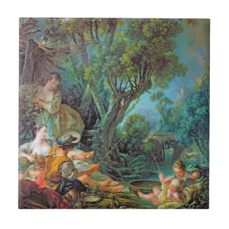 The Angler  Boucher Francois rococo scene painting Small Square Tile
