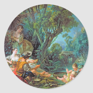 The Angler  Boucher Francois rococo scene painting Classic Round Sticker