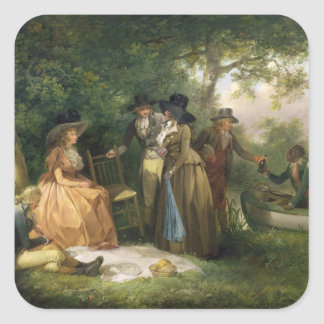 The Angler s Repast oil on canvas Square Sticker
