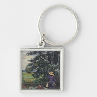 The Anglers, c.1885 Silver-Colored Square Key Ring
